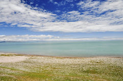 Summer  Lake scenery. Qinghai Lake,which is one of the most beautiful lakes in China, is shining in the sun Stock Photo