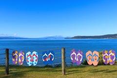 Summer lake Taupo view royalty free stock image