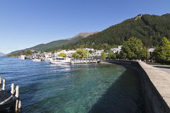 Summer Lake Wakatipu and Queenstown, New Zealand. Beautiful summer Lake and Queenstown, New Zealand stock photos
