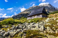 Summer in 5 lakes valley in High Tatra Mountains, Poland. Stock Photo