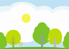 Summer landscape – vector illustration Stock Photos