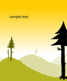 Summer landscape. Vector countryside landscape illustration, with fir trees, meadows Royalty Free Stock Photography