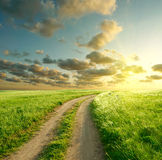 Summer landscape. With green grass, road and clouds Royalty Free Stock Photo