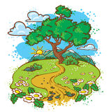 Summer landscape. Idyllic summer landscape with tree (color version Royalty Free Stock Photos