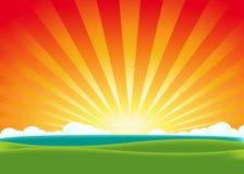 Summer Landscape. Illustration of a beautiful summer landscape horizon with sunrise or sunset Stock Photo