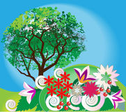 Summer landscape. With trees and decorative flowers Royalty Free Stock Photo