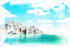 Summer landscape. Sea, beach and sky  with texture overlay Royalty Free Stock Photography