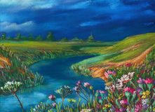 Summer landscape. Watercolor summer landscape with river and a field of flowers Royalty Free Stock Photo