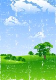 Summer landscape. Grunge summer landscape with trees and flowers vector illustration Royalty Free Stock Photography