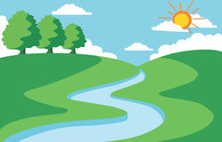 Summer landscape. Vector summer landscape, river, tree, sun Royalty Free Stock Photography