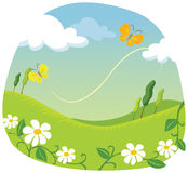Summer landscape. Meadow, butterfly. vector illustration Royalty Free Stock Images