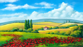Summer landscape stock illustration