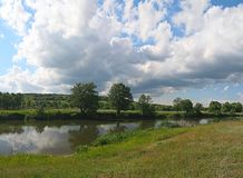 Summer landscape. Classic summer landscape with river Royalty Free Stock Image
