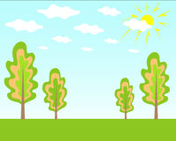 Summer landscape. The vector illustration contains the image of treees, clouds and sun Royalty Free Stock Image