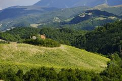 Landscape in Montefeltro near Urbania Marches, Italy Stock Photography