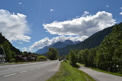 Summer landscape in Alpen. Picture of summer landscape in Austria Alpen with mountain peaks in behing stock photos