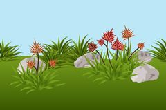Summer landscape background with tropical flowers, leaves. And stones. Vector illustration. Horizontally tileable Royalty Free Stock Photos
