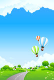 Summer Landscape with Balloon royalty free illustration