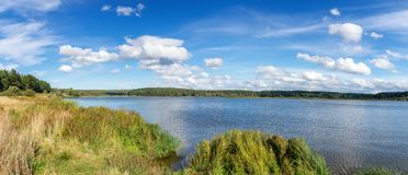 Summer landscape on the banks with reeds, Russia, Ural. Summer landscape on the banks with reeds, Russia, the Urals, July royalty free stock photography