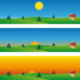 Summer landscape banner. Three banners of summer landscape, that represent the moments of a day Royalty Free Stock Photography