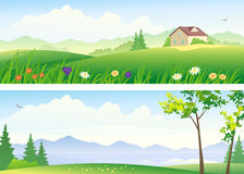 Summer landscape banners Royalty Free Stock Photography