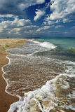 Summer landscape on beachcoast. Summer landscape on the beach coast with clouds stock image