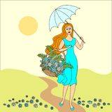 Summer landscape. Beautiful girl with a basket of flowers. Festive postcard. Vector illustration stock illustration