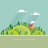 Summer landscape.beautiful house on the hill among trees, beauti Royalty Free Stock Photos