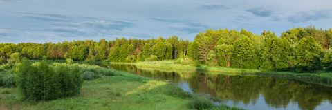 Summer landscape. beautiful view of the river with green coasts, coastal forest, lawn and bushes. A picturesque summer landscape. A beautiful view of the river royalty free stock images
