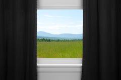 Free Summer Landscape Behind Black Curtains Stock Photos - 35027393
