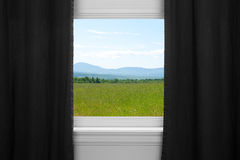Summer landscape behind black curtains Stock Photos