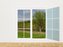 Summer landscape behind a window Stock Images