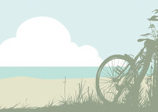 Summer landscape with a bicycle Royalty Free Stock Photo