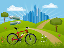Summer landscape with a bike. Vector illustration Stock Images