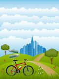 Summer landscape with a bike. Vector illustration Royalty Free Stock Image