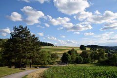 Summer landscape, Black forest, Germany. Big white clouds, blue sky,pine forest, and cereal fields. A typicaly summer scene in Black Forest, Germany royalty free stock photos