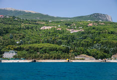 Summer landscape of the Black Sea and mountains in Crimea Royalty Free Stock Photo