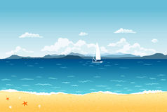 Summer landscape. Summer blue sea landscape with sailing boat and mountains on the horizon Royalty Free Stock Images