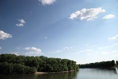 Summer landscape on blue sky background Stock Photos
