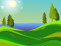Summer landscape. Blue sky. Bright sun. Green field. Hot day. Trees stand on a hill. Bright background. Cartoon Stock Image