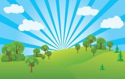 Summer landscape with blue sky - vector Stock Photos