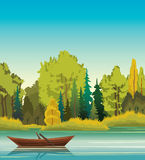 Summer landscape - boat, lake and forest. Wooden boat on a calm blue lake and green forest. Summer  landscape. Nature illustration Stock Images