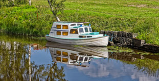 Summer landscape with boat Royalty Free Stock Photo