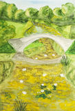 Summer landscape with bridge, painting Stock Image