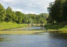 Bridge on river, Gatchina Stock Photo