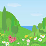 Summer landscape.Vector illustration. Bright summer landscape with flowers in the foreground and the green hills with trees in the background.Vector illustration Royalty Free Stock Photo