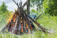 A burning bonfire with bright flame tongues close-up. Summer landscape.   A burning bonfire with bright flame tongues close-up Royalty Free Stock Photo