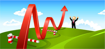 Summer Landscape Business Growth. Red waving arrow moving up at the summer landscape with businessman at the horizon Stock Image