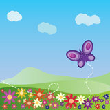 Summer landscape with butterfly. Illustration of summer landscape with flowers and butterfly background Royalty Free Stock Photo