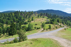 Summer landscape Carpathian road. Stock Photography